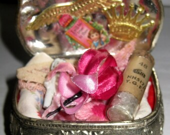 "Vintage Jewellery Casket Full of Antique ""Pretty in Pink"" Creative Bits Supplies"