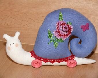 Lady Snail, Tilda snail, fabric toy, decorative toy, handmade toy, stuffed animal