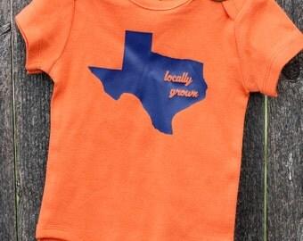 Locally Grown Shirt or Onesie Custom Home State Kids or Baby Onesie or Shirt