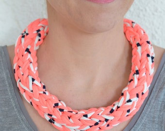 Printed braided Necklace blue-white and pink neon - handmade