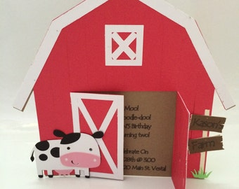 Barn Shaped 3D invitation