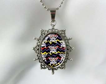 Aztec Tribal Silver art pendant with silver plated ball chain Necklace