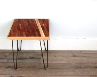 Reclaimed wood table side table end table