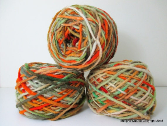 Limited Edition Handspun Hand dyed yarn Pure Bulky Chilean Wool Knitting Multicolour Araucania Chunky Skein Orange Green Red yarn 100g 3.5oz