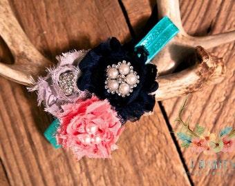 Navy, Gray, and Pink shabby chic flower headband