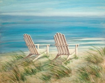 "Beach Print, 11"" x 14"" . Adirondack Chairs from a painting by Tina O'Brien"