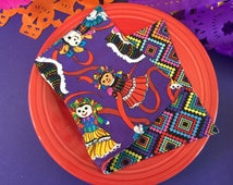 Cinco De Mayo, Baile Folklorico, Mexican, Fiesta, Napkins for Kids, Reversible Cotton, Compact Size.  Eco Friendly, Easy Care.  Set of 2.