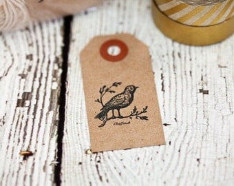 Set of 10 bird tags, paper goods, cardstock tags, vintage bird, gift tags, paper goods, kraft tags, small tags
