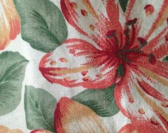 Fire Islander tropical hibiscus flower cinched waist short sleeve top