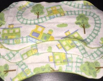 Tracks and Trains Minky Burp Cloth Set