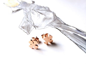 4 Leaf Clover Earring Stud Earring 18K Rose Gold Earring Tiny Earring Everyday Earring