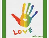 Cross Stitch Pattern Silhouette Hand heart love rainbow Counted Cross Stitch Pattern / Instant Download Epattern PDF File