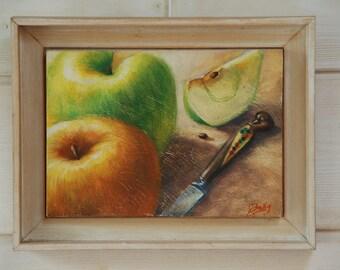 Original oil painting still life: Two Apples
