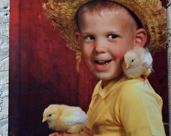 Retro Farm Boy, 1960 Easter Picture, 8.5 x 11 Original Book Page, Easter Chicks, Yellow Peeps, Straw Hat, Sweet Happy Child