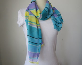 Teal Striped Scarf