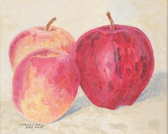 Original Fruit Painting, Pinata and Red Delicious Apples, Nectarine, Acrylic Painting, Food Art, Kitchen Art, Gallery Wrapped Canvas