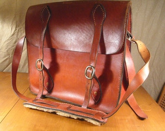 Vintage, Large Saddle Leather Mail Bag, Heavy Duty with Removable Interior Pouch