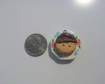 Polymer Clay Strawberry Chocolate Covered Ice Cream Sandwich Charm On Rose Plate Pendant