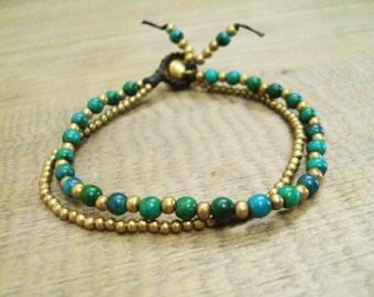 4mm Jasper stone bracelets,Beadwork bracelets,Brass bracelets,Green bracelets