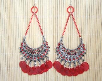 Antique tibetan red capiz shell chandelier
