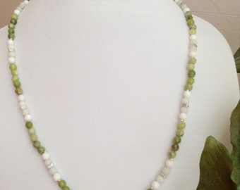 Sophisticated Snow Quartz and Jade ~ Necklace