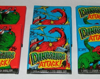 Vintage 1988 Topps Dinosaurs Attack Cards, 6 sealed packs