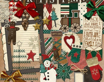 """Christmas Digital Scrapbook Kit - """"Primitive Christmas"""" digital papers and elements with snowman, mitten and train for scrapbook layouts"""