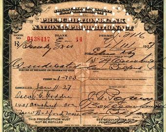 Prohibition Prescription for Brandy Jan 11th, 1927 ( Bar, Saloon, Pharmacy)