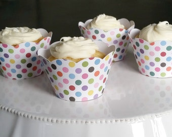 Polka Dot Cupcake Wrappers - set of 12