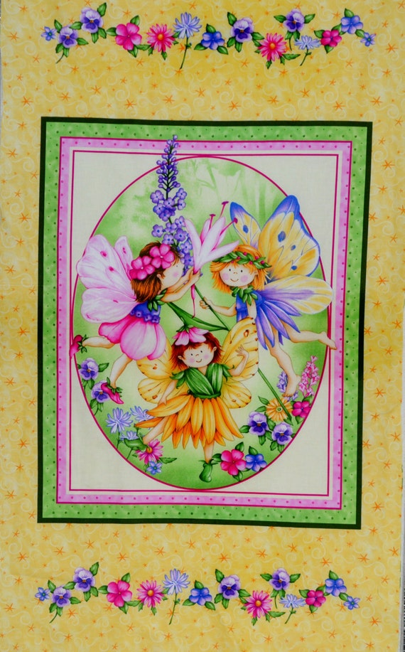 Henry Glass Co Wildflower Fairies  100% cotton fabric, fairy panel, with orange, yellow, pink, purple and green, amoung other colors. ~16