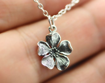 CHERRY BLOSSOM FLOWER Necklace - 925 Sterling Silver - Namaste Charm Yoga Pear