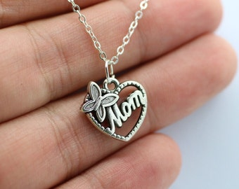 Silver Mom Charm Necklace - Butterfly Heart Love Mom Family *NEW* Mothers Day