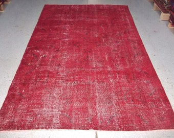 "5'2"" x 8'5"" (158 x 258 cm) Red Rug Handmade from Overdyed Vintage Turkish Carpets"