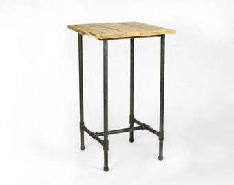 High square table made from 1 inch gas pipe and reclaimed wood