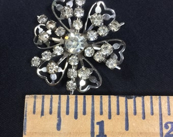 Vintage silver and rhinestone brooch