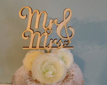 Mr & Mrs Wedding Cake topper, Wooden cake topper, Mr and Mrs wedding