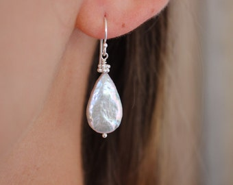 Tear Drop Freshwater Pearl Earrings With Silver