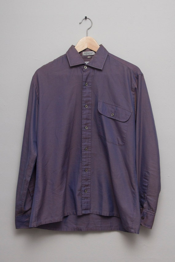 Vintage rare christian dior men 39 s purple gold button by adrond for Christian dior button up shirt