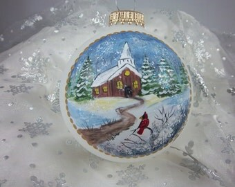 Church Ornament,, Oh Holy Night, Pastor Gift, Winter, Country Church, Pines and Cardinal, Winters Eve, Free Inscription