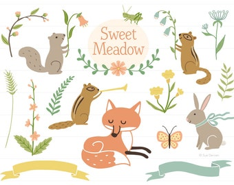 Woodland Clip Art - woodland clipart, baby shower clipart, birth announcement clipart, baby clipart, fox clipart, forest animal clipart