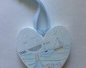 Wooden heart, seagulls, s...