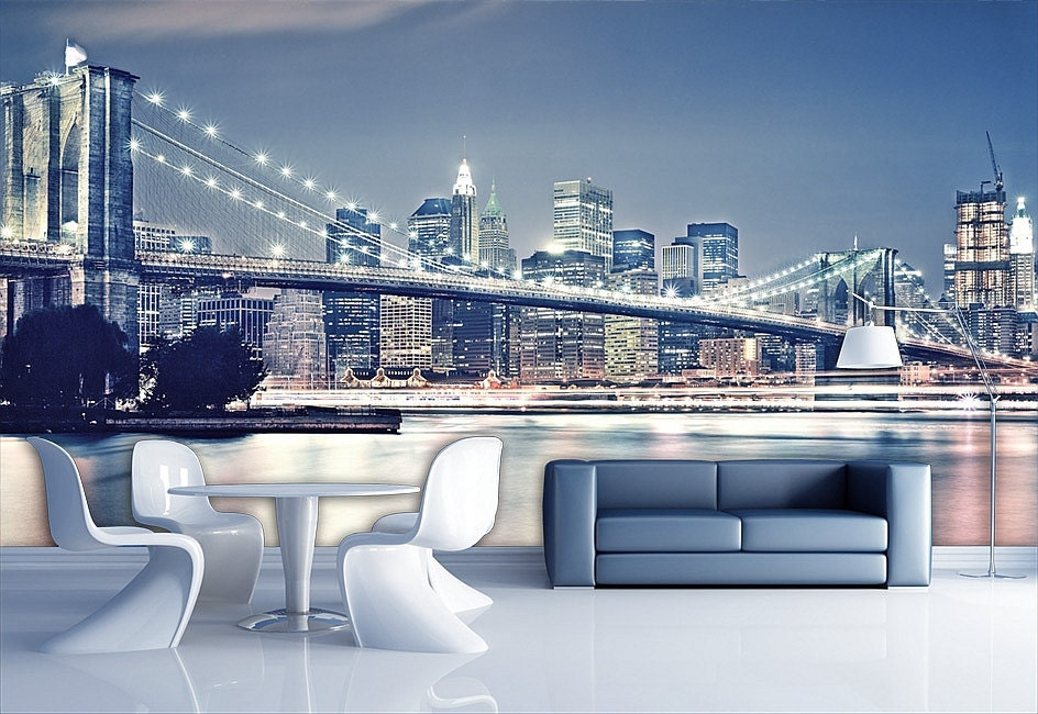 Brooklyn bridge wall mural wallpaper wall d cor wall decal for Brooklyn bridge wallpaper mural