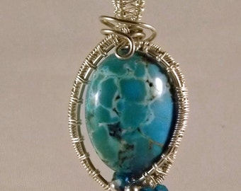 Blue Magnesite with Silver Colored Wire