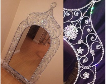 Crystal covered mirror