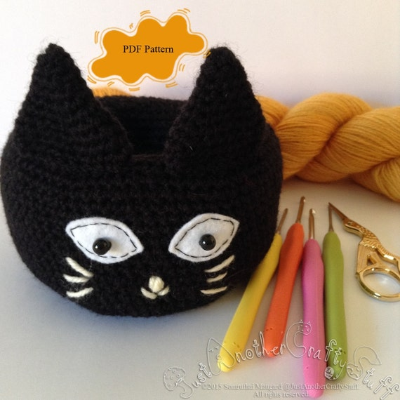 Amigurumi Black Cat Pattern : Crochet Pattern Black Cat Bowl Amigurumi PDF / by ...