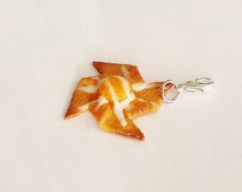 Handmade Apricot Danish Pastry Charm - Polymer Clay Food Charm- Miniature Food Jewelry