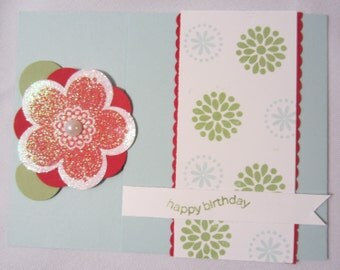 Red Glittery Flower Birthday Card