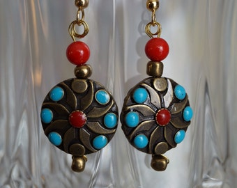Southwest style earrings turquoise and red