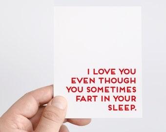 Funny Valentines Day Card | Honest Valentine | Fart In Sleep | Funny Anniversary Card | Husband | Boyfriend | Valentines Day Gift For Him