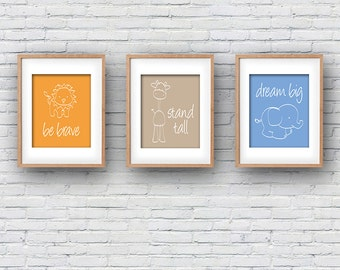 Set of 3 Nursery PRINTABLE DOWNLOAD Wall Art Elephant Lion Giraffe Line Drawing Inspirational Baby Boy Be Brave Dream Big Stand Tall Print